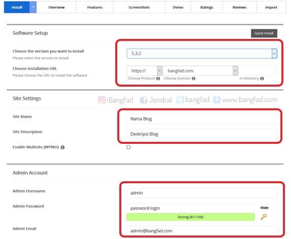 Setting username dan Password